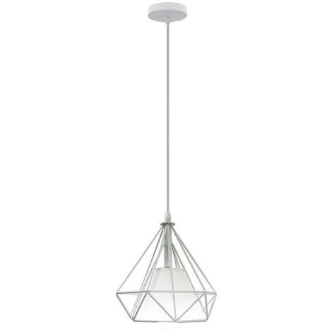 Lampes de Plafond Abat-Jour Lampe Suspension Lustre Cage en Fer Forme Diamant 20cm avec Douille Eclairage Style Industrielle?E27 Blanc