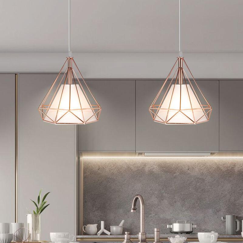 544b73be1d978 Lampes de Plafond Abat-Jour pour Lampe Suspension Lustre Cage en Fer Forme  Diamant avec Douille Eclairage Style Industrielle Or Rose(sans ampoule)