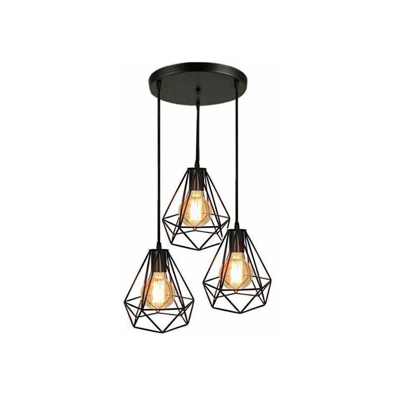 Suspension Lampes Jour Cage Abat Lustre Plafond Pour 3 Luminaire De WY9EID2H