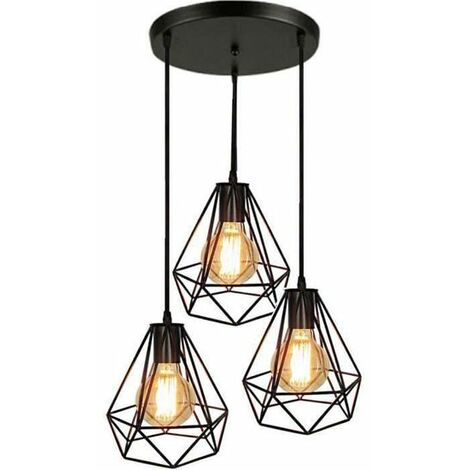 Lampes de Plafond Abat-Jour Suspension Lustre Cage 3 Luminaire pour Salon Cuisine Restaurant Bar Cafe