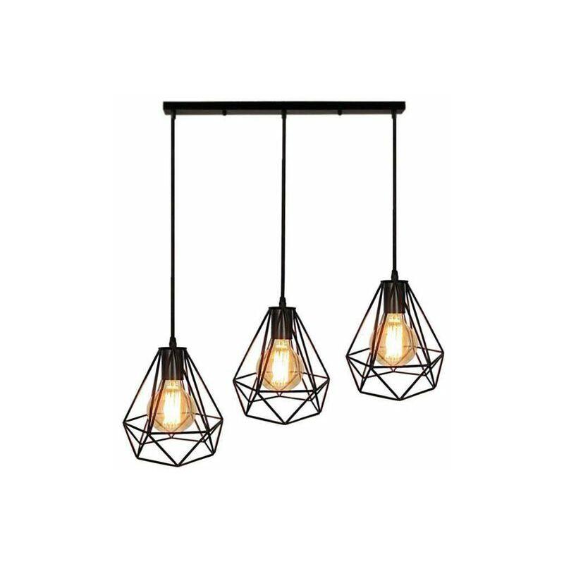 672103dbe9f92 Lampes de Plafond Lustre Abat-Jour Suspension Cage en Fer forme Diamant  avec Douille Eclairage Style Industrielle (sans ampoule)