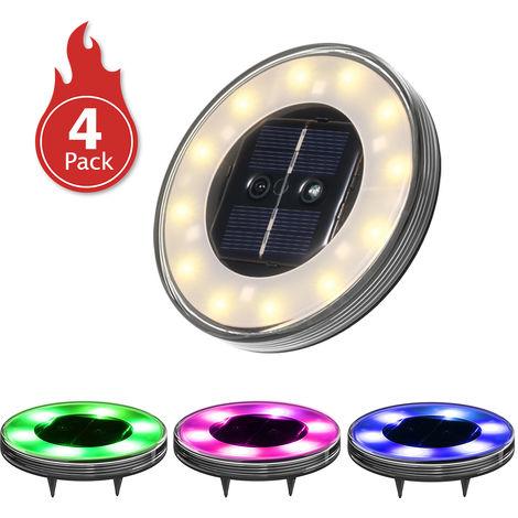Lampes De Terrasse Solaires, Multicolore, 12 Led, Pack De 4