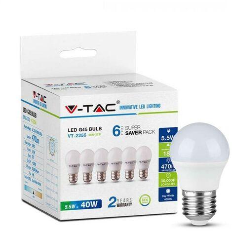 Lampes globe LED V-tac VT-2256 pack de 6 - E27 - 5.5W - 470 Lm - 2700K - P45