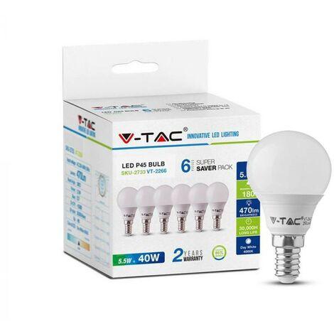 Lampes globe LED V-tac VT-2266 pack de 6 - E14 - 5.5W - 470 Lm - 2700K - G45