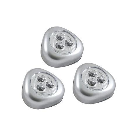 Lampes LED adhésives à pression pour placard/penderie/tiroir/étagère/garage/cuisine (pack de 3)