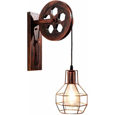 Lampes murales de style industriel rétro créatif Style loft poulie de levage allume l'éclairage de couloir