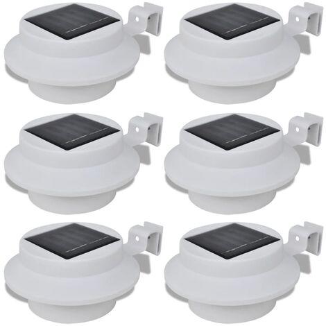 Lampes solaires 6 pcs pour clôture gouttière Blanc