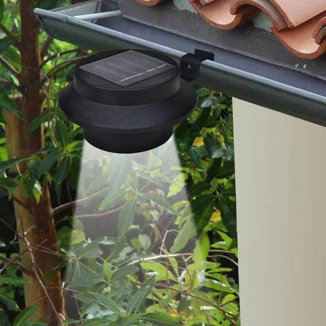 Lampes solaires 6 pcs pour clôture gouttière Noir