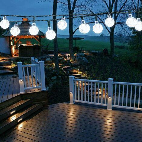 Lampes solaires de jardin d'extérieur 50 LED 8 modes pour intérieur / extérieur - Pour jardin, terrasse, cour, maison, fête, mariage, festival (blanc clair) [Classe énergétique A+++]