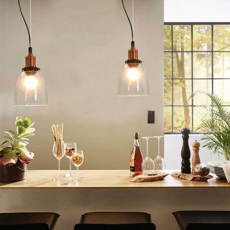 Lampes suspendues 2 pcs Transparent Rond 14 cm E27