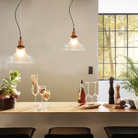 Lampes suspendues 2 pcs Transparent Rond 28 cm E27