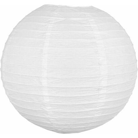 """main image of """"Lampion Boule Papier 40 CM Blanc - Lanterne Japonaise Papier - Lanterne Chinoise en Papier pour Mariage Baby Shower et Autre Célébrations Champetre Boheme ou Romantique"""""""