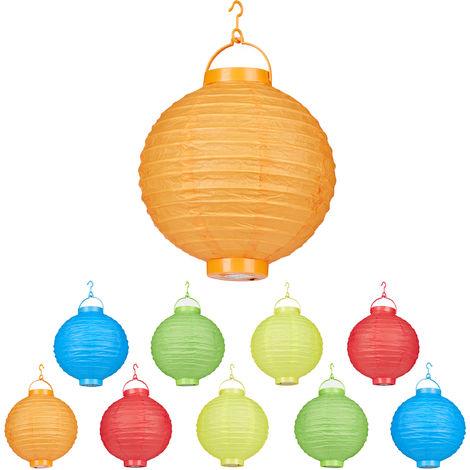 Lampion chinois LED abat-jour papier lanterne boule 20 cm rond décoration set de 10 à piles, coloré