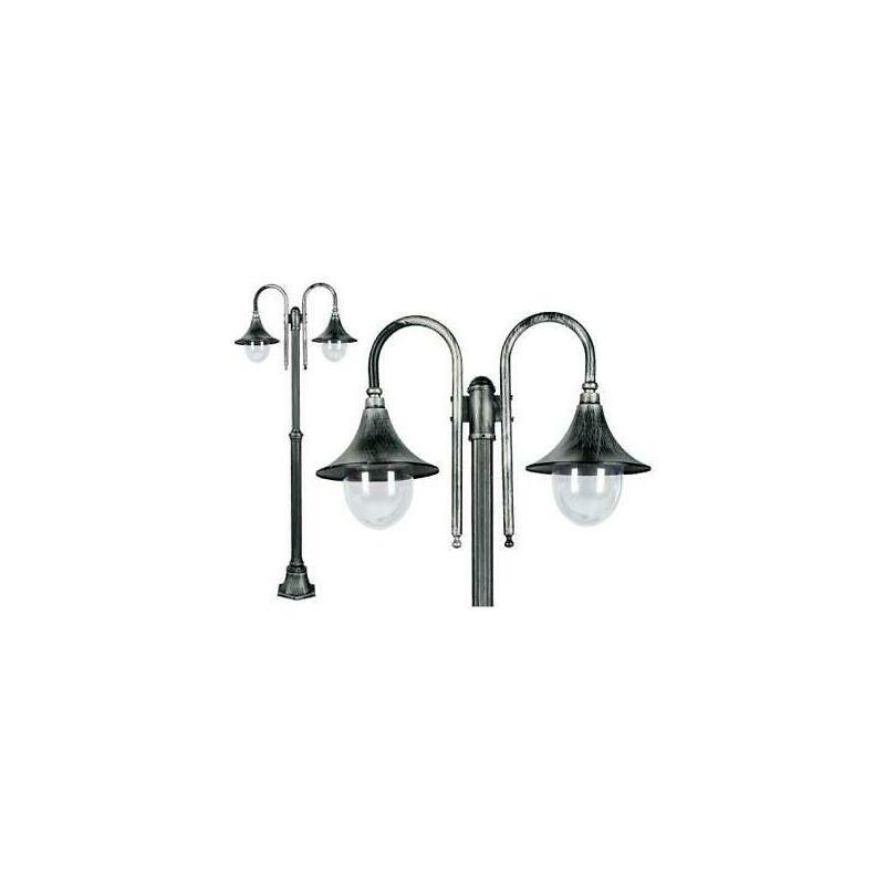 Lampione cigno - galatea a 2 lanterne lampade arredo illuminazione cm75x26xh186
