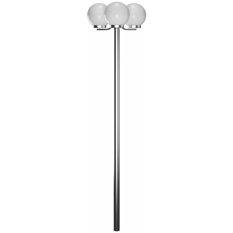 Lampione da giardino Monate h. 220 cm, 3 lampade - Bianco