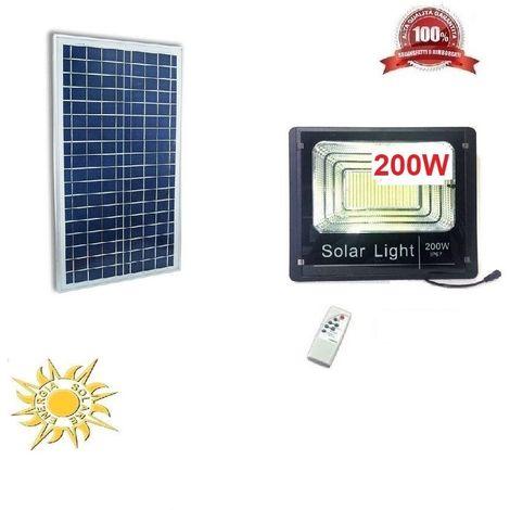FARO ENERGIA SOLARE LED CON PANNELLO FARETTO TELECOMANDO 200 WATT