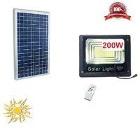 Lampione Faro Stradale Ad Energia Solare 200 Watt A Led + Telecomando Sensore