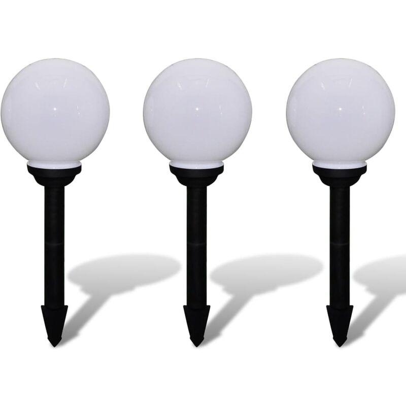 Lampione Solare a LED da Giardino 20 cm 3 pz con Picchetto - Blanco - Vidaxl