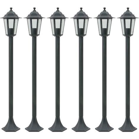 Lampioni da giardino 6pz e27 110 cm alluminio verde scuro for Lampioni da giardino obi