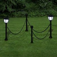 Lampioni solari da giardino a led con catena 2 lampadee 2 pali