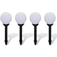 Lampioni Solari LED Giardino 4 pz Rotondi 15 cm con Picchetto