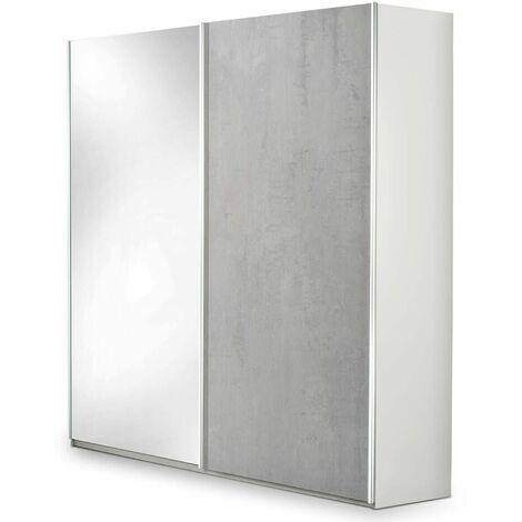 LANA - Armoire 2 Portes Coulissantes avec Miroir