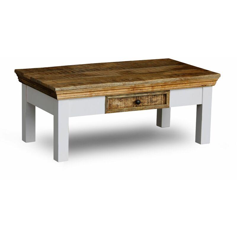 Landhaus Couchtisch Massivholz Akazie 90cm Baumstamm Wohnzimmertisch Tisch A00000358 - INDEX-LIVING