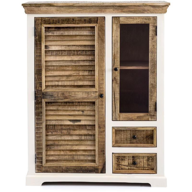 Dynamic24 - Landhaus Highboard New Orleans Kommode Mango Holz Wohnzimmer Schrank Anrichte A00000912