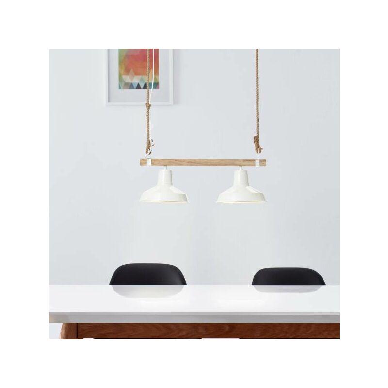 Lightbox - Landhaus Pendelleuchte in Emaille Optik, 2-flammig, E27 max. 60 Watt aus Metall / Holz in weiß glanz und hellem holz-'LB00001440'