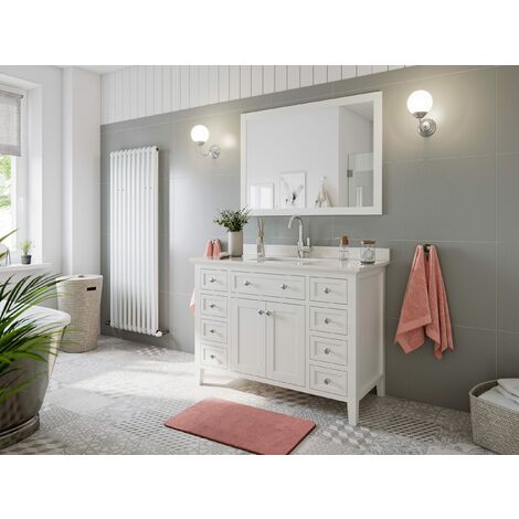 Landhausstil 2tlg Set Postigo 120 weiss Holz lackiert Carrara Marmor vormontiert