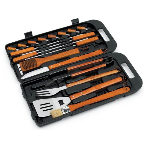 Landmann BBQ Bamboo Tool Set In Case - 18 Piece