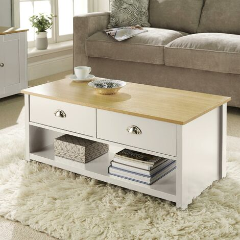 """main image of """"Langdale Cream Oak Coffee Table 2 Drawer Occasional Table D Cup Metal Handles"""""""