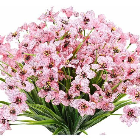 LangRay 10 paquetes de flores artificiales para exteriores, resistentes a los rayos UV, sin decoloración, flores púrpuras falsas para plantas colgantes de interior al aire libre, jardín, patio, porche, ventana, caja, boda, hogar, granja, decoración (rosa)