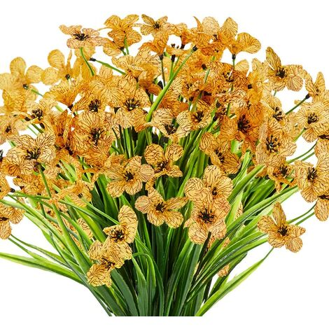 LangRay 10 paquetes de flores artificiales para exteriores, resistentes a los rayos UV, sin decoloración, flores púrpuras falsas para plantas colgantes de interior al aire libre, jardín, patio, porche, ventana, caja, hogar, boda, granja, decoración (amari