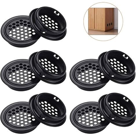 """main image of """"LangRay 10 Pcs Round Air Vent Grille, Stainless Steel Hole Vent Grille Round Vent Grille Hole Vent Holes For Kitchen And Kitchen Cabinet Furniture Mouth Vent (Black)"""""""