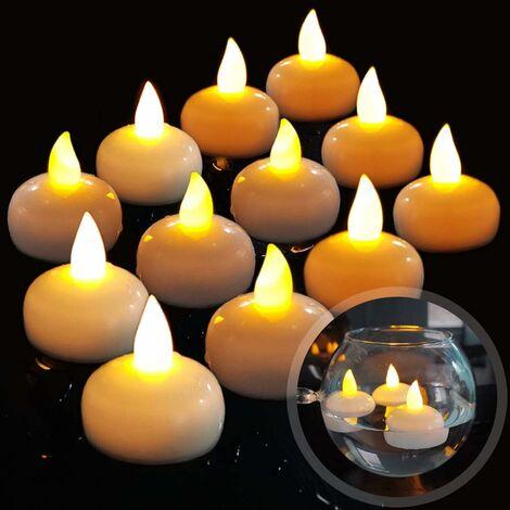 LangRay 12 LED Bougie Flottante sans Flammes, Batterie éTanche LumièRes De Thé LED Vacillantes Flotter sur l'eau pour Mariage, FêTe, Centre De Table, Piscine Et Spa (Blanc Chaud)