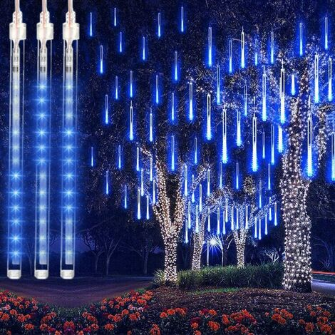 """main image of """"LangRay 192 LED Christmas Lights - 30 cm - 8 tubes - Waterproof - Ice Drop - Snowdrop - Raindrop - For Party, Wedding, Garden, Christmas Tree - Blue"""""""