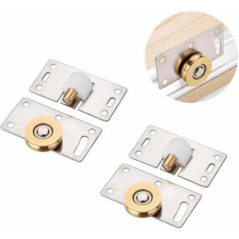 """main image of """"LangRay 2 pares de polea deslizante para puerta de armario con rodillo de puerta corredera, accesorios de hardware para dispositivo deslizante de polea, para armario de armario"""""""