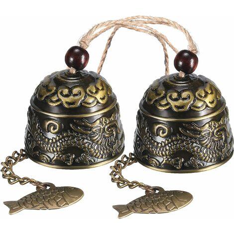 LangRay 2 Pièces Carillons Éoliens Vintage Dragon, Classique Chinois Feng Shui Cloches en Métal Bonne Chance Bless Cloches Carillons Éoliens À la Main d'Extérieur d'Intérieur pour Jardin et Maison