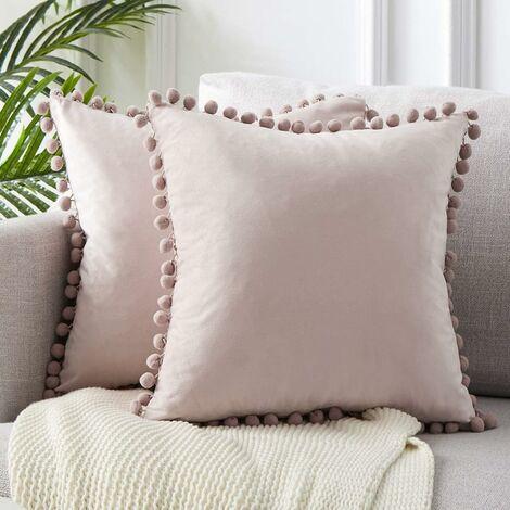 LangRay 2 piezas 45x45cm fundas de almohada de terciopelo suave con almohadas de bola de masa decoración de sofá moderna para el dormitorio de la sala de estar - funda de almohada rosa claro