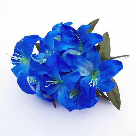LangRay 2 piezas Lirio artificial 10 cabezas Lirio falso Flor artificial Decoración para fiesta de boda Ramo Hogar Hotel Oficina Jardín Artesanía Arte Decoración Mar azul