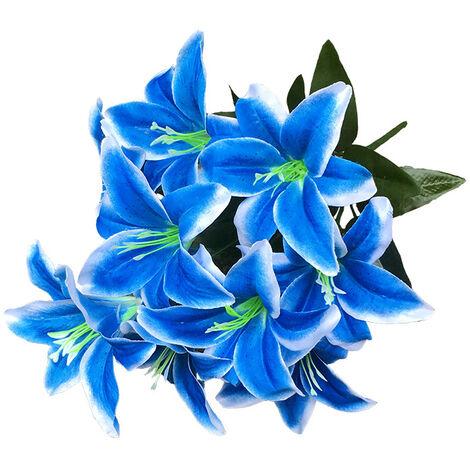 LangRay 2 piezas Lirio artificial 10 cabezas Lirio falso Flor artificial Decoración para fiesta de boda Ramo Hogar Hotel Oficina Jardín Artesanía Decoración artística Azul