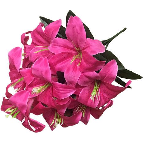 LangRay 2 piezas Lirio artificial 10 cabezas Lirio falso Flor artificial Decoración para fiesta de boda Ramo Hogar Hotel Oficina Jardín Artesanía Decoración artística Burbuja rosa