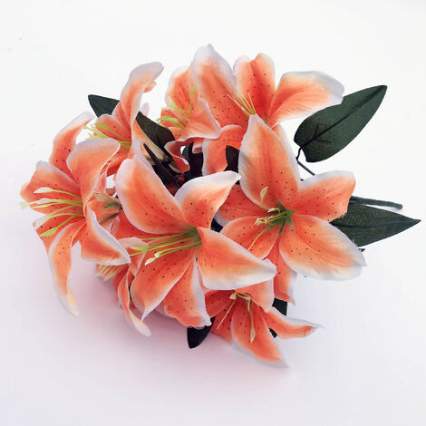 LangRay 2 piezas Lirio artificial 10 cabezas Lirio falso Flor artificial Decoración para fiesta de boda Ramo Hogar Hotel Oficina Jardín Artesanía Decoración de arte Naranja