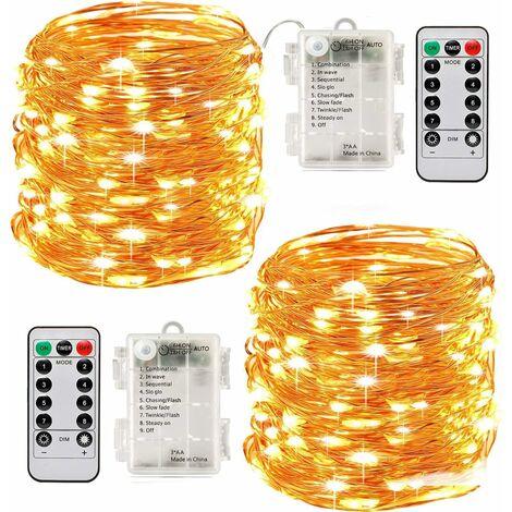 """main image of """"LangRay 2 x 10 m 100 LEDs Batteriebetriebene LED-Lichterketten Timer-Funktion mit Fernbedienung IP65 Wasserdichte Innen- und Außendekoration für die Weihnachtshochzeit Hausgarten - Warmweiß"""""""