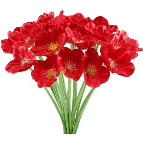 LangRay 20 piezas ramo de flores rojas de amapola artificial amapolas falsas decoración de Navidad para la tienda de mesa de boda en casa
