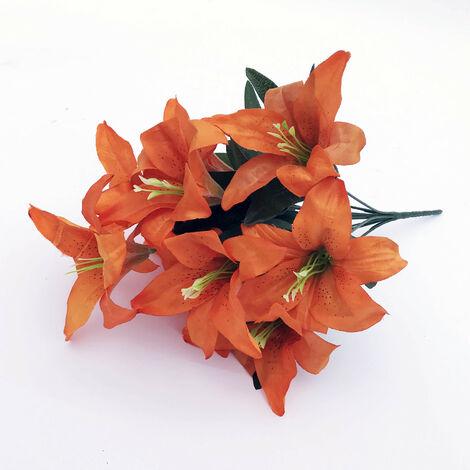 LangRay 2pcs Lirio artificial 10 cabezas Lirio falso Flor artificial Decoración de fiesta de boda Ramo Hogar Hotel Oficina Jardín Artesanía Decoración de arte Naranja oscuro