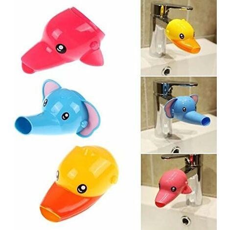 LangRay 2pcs Robinet Extension de robinet Extender pour Enfant Bébé Se Laver les Mains Cartoon Animal Design de lavage Salle de Bain Lavabo Canard + éléphant