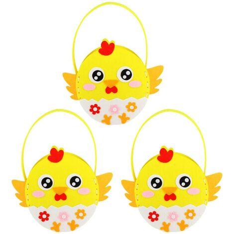 LangRay 3pcs Huevo de Pascua Bolso de dibujos animados Chick DIY Bolso de mano de Pascua para niños