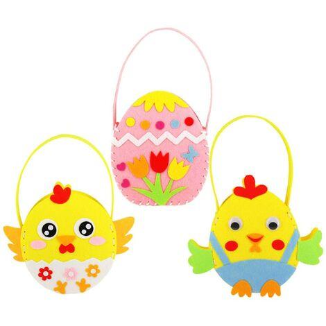 LangRay 3pcs Huevo de Pascua Bolso de dibujos animados Chick DIY Bolso de mano de Pascua para niños, Pollitos y huevos coloridos